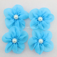 Wholesale set of White Blue Ivory Pink Bridal silk flowers with pearl flower center silk hair flowers silk organza flowers