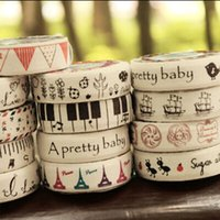 Wholesale 5 cotton cloth tower music masking tape DIY decorative tape kawaii stationery scrapbooking tools