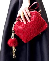hair ball - 2015 HOT Lace square hollow hair ball pendant hand bag shoulder Messenger handbag for dinner pearl evening bag Clutch Bags