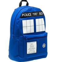 Wholesale 2015 Doctor Who inch backpack police box backpack bag Children School Bags Kids Boys Mochila Double Shoulder Bag Block