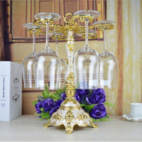 Wholesale Fashion single layer gold plated metal red wine cup holder goblet rack Champagne Glasses Rack
