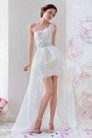 A-Line sexy mini wedding dress - Stunning Short Mini Wedding Dresses Beach Spring Garden Chiffon One shoulder Applique Custom Made Sexy Bridal Dress Ball Gowns High Low