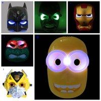 Bambini LED MASK Maschere luce Cattivissimo Me Minion Mask Cosplay supereroe Batman Spider Man Capitan America Hulk Iron Man Avengers Mask
