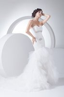 amazing promotions - Amazing Sweetheart Crytal Appliques Tulles Ruffles Mermaid Trumpet Custom made White Organza Fishtail Bridal Gowns New Year Promotion
