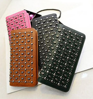 skull purses - Han edition handbag new PU wave packet skull purse personality rivet punk hand bag long wallet