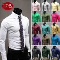 Wholesale Free DHL Plus Size M XXXL Christmas Newest Mens Candy Slim Fit Luxury Casual Stylish Dress Shirts Colors