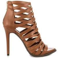 Cheap Brown Gladiator Sandals for Women 2015 Back Zip Ankle Boot Criss-Cross Straps High Heels Stilettos Heel Boots For Women (Made-to-order)