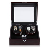 Wholesale High Quality Professional Watch Winder Automatic Compartment Leather Storage Wood Display Case Watch Winder Coffee Gift