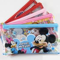 Wholesale 20pcs PVC Transparent Cartoon Pencil case pen bag stationery Coin Purse Kids birthday Gift Favor Size cm