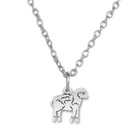 South American american lamb - Fitness Jewelry Zinc Alloy Antique Plated Floating Peaceful Lamb DIY Animal Charms Animal Chain Rope Pendant Necklaces