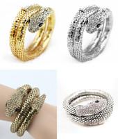Wholesale Hot Punk Rhinestone Curved Stretch Snake Bracelet Chunky Mesh Chain Statement Cuff Bangle Nightclub Jewelry