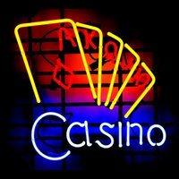 al por mayor tienda k-Casino poker k q letrero de neón verdadero tubo de vidrio exhibición barra de cerveza artesanía signos luz CLUB tienda