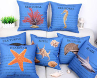 Wholesale Cushion cover sea world marine biology pillow cover dolphin shark turtle starfish shell pillow case linen cotton sofa couch cushion x45cm