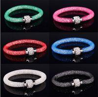 Wholesale Sparking Crystal Stardust Bracelet Magnetic Clasp Rhinestone Shamballa Beaded Bangles Bohemian Jewelry Mix Color SZ318