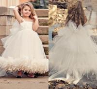 Wholesale White Ivory Tulle Flower Girl Dress For Wedding Kids Princess Dress Girl Tutu Dress Wedding Custom Made Feathers Girls Wedding Party Dress