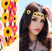 Wholesale Bohemian Headband for Women Flowers Braided Leather Elastic Headwrap sun flower hair band Assorted Colors Hair Ornaments