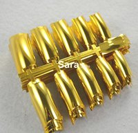 artificial nails supplies - Nail Supplies colour Metallic Gold Full Cover Artificial False Acrylic Nail Tips sets HJMH