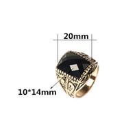 Wholesale Retro Vintage Men Ring Fashion Personality Exquisite Carving Black Stones Ring CZ diamond Jewelry Size