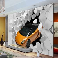 Wholesale Car Design Wall For Kids - 3D Sports Car Photo Wallpaper Giant Wall Mural Unique Design wallpaper Bedroom Hallway room decor Sofa TV setting wall art Home Decoration