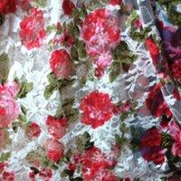 Wholesale free shipingWhite print elastic lace gauze clothes one piece dress fabric diy