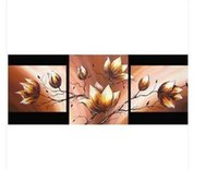 achat en gros de peintures de fleurs d'or-Peintures abstraites modernes d'art - magnolia d'or Fleurs 100% pur peint à la main