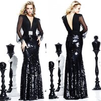 Wholesale Charming Illusion Long Sleeve Evening Gown Dresses Pleated Chiffon Sequined Fabric Deep V Neck Column Black Formal Prom Dress High Quality