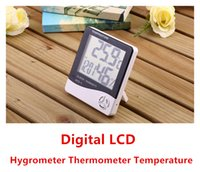 Wholesale Fashion NEW Multi function Digital Big LCD Screen LED Hygrometer Thermometer Temperature Humidity Meter Alarm Clock Indoor HTC