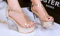 Wedding beaded zipper sandal - 2015 open toed back zipper with thick bottom rivet sexy transparent Wedge Heel wedge waterproof platform sandal shoes wedding shoes
