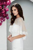 chiffon jacket - 2015 Bolero Jacket Wedding Dress Shawls Bride Wraps Chiffon Lace Wedding Boleros Bridal Jackets With Lace Appliques Custom Made