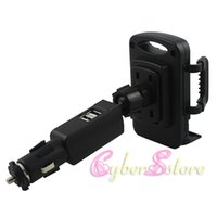 Wholesale Universal Car Charger Holder Car Mount USB Ports for iPhone Samsung S5 S4 S4 Note4 Note3 HTC Sony LG