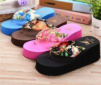 Cheap Summer Women Beach Sandals Print Sandal Platform Wedges Flip Flops Home Slippers Shoes Women High Heel Slippers