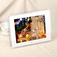 achat en gros de cadres photos numériques film-12.1 '' HD TFT-LCD 1024 * 768 accueil Digital Picture Photo Cadres Réveil Lecteur MP3 MP4 Movie avec bureau à distance D1527