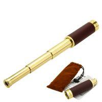 Wholesale 25X32 Retro Pirate Telescopic Brass Metal Mono Spotting Scope Mini Monocular Telescope Y0202