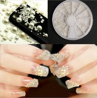 Wholesale 3D Fashion White Nail Art Tips Pearl Acrylic Gem Glitter Manicure DIY Decoration