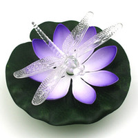 artificial dragonfly - New Arrival Artificial EVA Simulation Lotus Lamp Light Control Dragonfly Wishing Floating Lights For Garden Home Decor