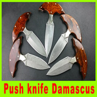 Wholesale 2014 new Push knife Damascus Blade Rosewood Handle Camping Knife Survival Tactical Knives best christmas gift L