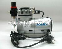 Wholesale tatoo air compressor air brush discount airbrush makeup pump portable mini piston oilless silent AC V Hseng AS18