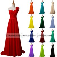 black coral - 2015 Cheap Long Prom Evening Dresses A Line One Shoulder Red Coral Blue Pink Green Champagne Black IN STOCK Bridesmaid Dress Party Gowns