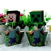 cupcake toppers - Minecraft paper cupcake wrappers and toppers set baby party birthday shower supplies minecraft cupcake toppers baby shower decors