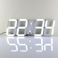 Wholesale 5 Inches D LED Digital Clock Super Big Alarm Clock White LED Indoor Clock Large Wall Clock
