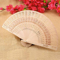 Wholesale Retro Hollow Folding Wooden Carved Print Fragrant Hand Fan Summer Accesory Brand new