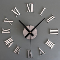 Wholesale 2015 Novelty fashion BIG Metallic DIY Wall Clock D Roman Numerals Stickers Home Decor Art Modern Clock Creative clock