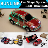 2 For Mobile Phone MP3 Speaker COLORFUL LED Crystal A9 Car Shape Portable Wireless Bluetooth Speaker Mini Amplifier Loudspeaker Micro SD TF Card FM For S6 iPhone 6 5S
