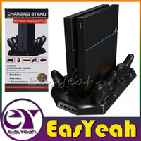 Wholesale Vertical Stand Dual Cooler Fans For PS4 Playstation Console Charging Stations for DualShock4 PS4 Controllers