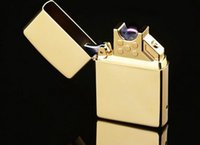 Wholesale Arc Windproof Ultra Thin Metal Pulse Charge Usb Lighter Rechargeble Electronic Cigarette New Fahion Smoking Windproof Lighters
