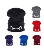 Wholesale Crochet Flat Cap Pattern - 2016 Fashion Bonnet Knitting Beanie Hip Hop Hat Unisex Eyes print Pattern Gorro Crochet Headgear Winter Skiing Caps