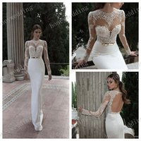 Cheap 2014 Fall Sexy Illusion Jewel Neck Applique Backless Berta Bridal Long Sleeve Sheath Wedding Dresses Floor Length Bridal Gowns open back
