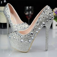 Wholesale 2015 Women Silver Custom big size wedding shoes crystals rhinestones bridal wedding Pumps shoes Diamond Shoes Party Prom High Heels shoes