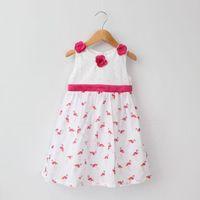 flamingo - 2015 New Arrival Hot Sale Childrens Dresses Baby Girls Stereo Rose Round Neck Sleeveless Dresses Girls Kids Fashion Flamingo Pattern Dresses