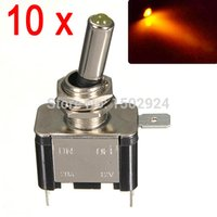 Wholesale 10pcs Brand New Yellow DC12V A LED Light Auto Toggle Switch Control ON OFF Black Silver Body
